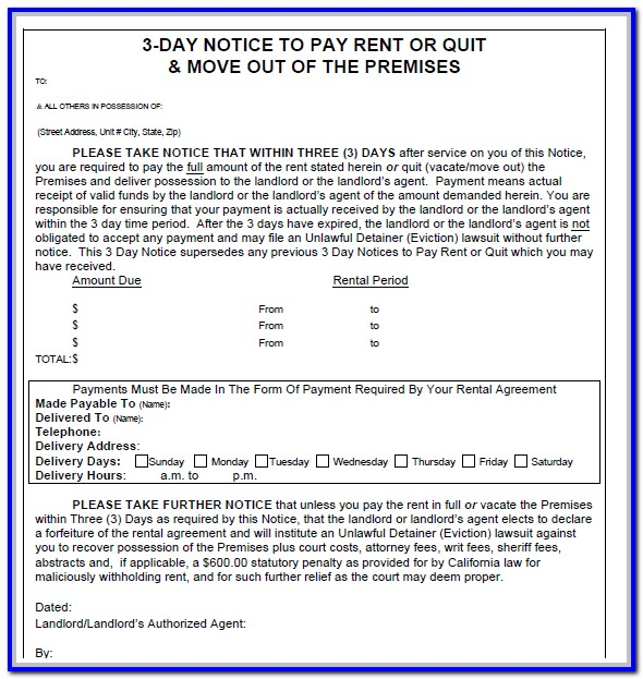 3 Day Notice To Pay Rent Or Quit Form New York