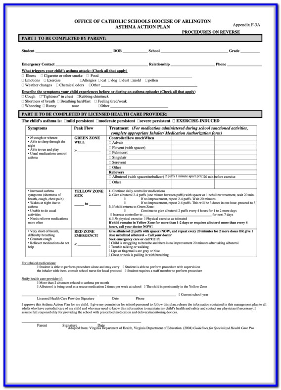 Asthma Action Plan Form For School
