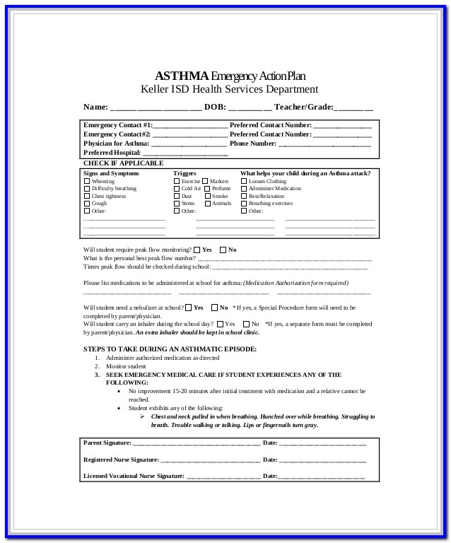 Asthma Action Plan Form Nyc