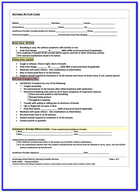 Asthma Action Plan Form Texas