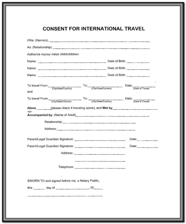 Consent Form For Child To Travel With One Parent Canada