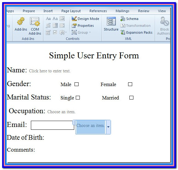 Create Fillable Form In Word 2016