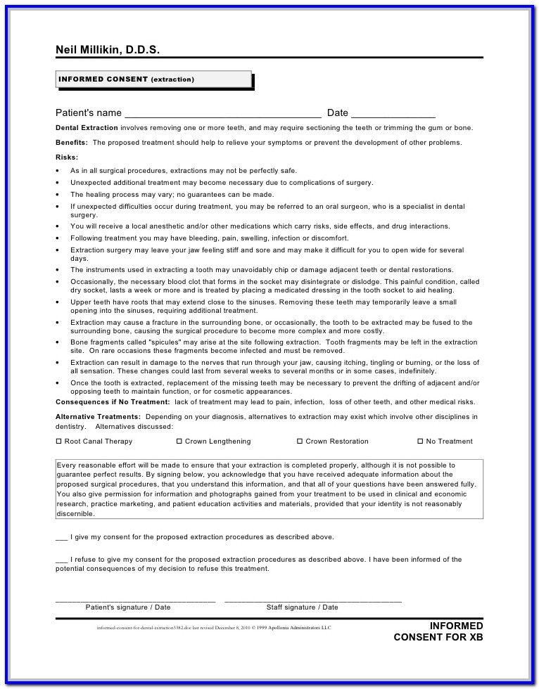 Dental Implant Consent Form India