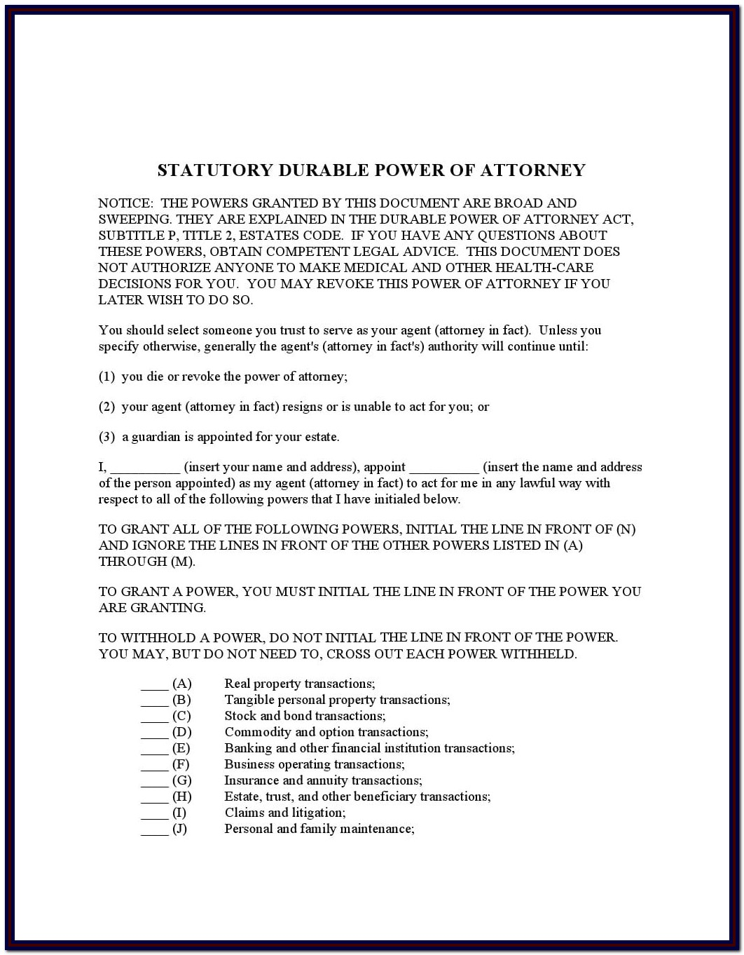 Durable Power Of Attorney Template Texas
