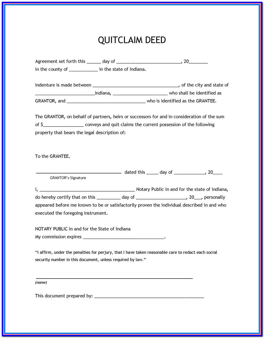 Free Blank Quit Claim Deed Form Oklahoma