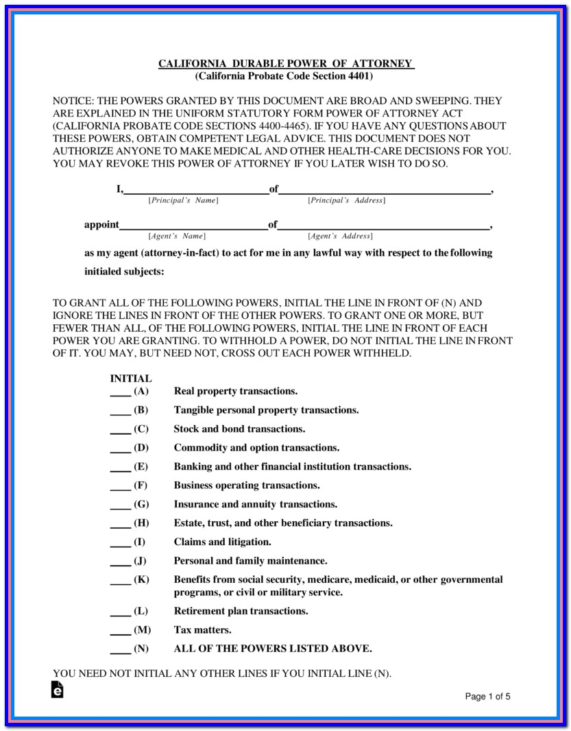 Free Nc Durable Power Of Attorney Forms To Print