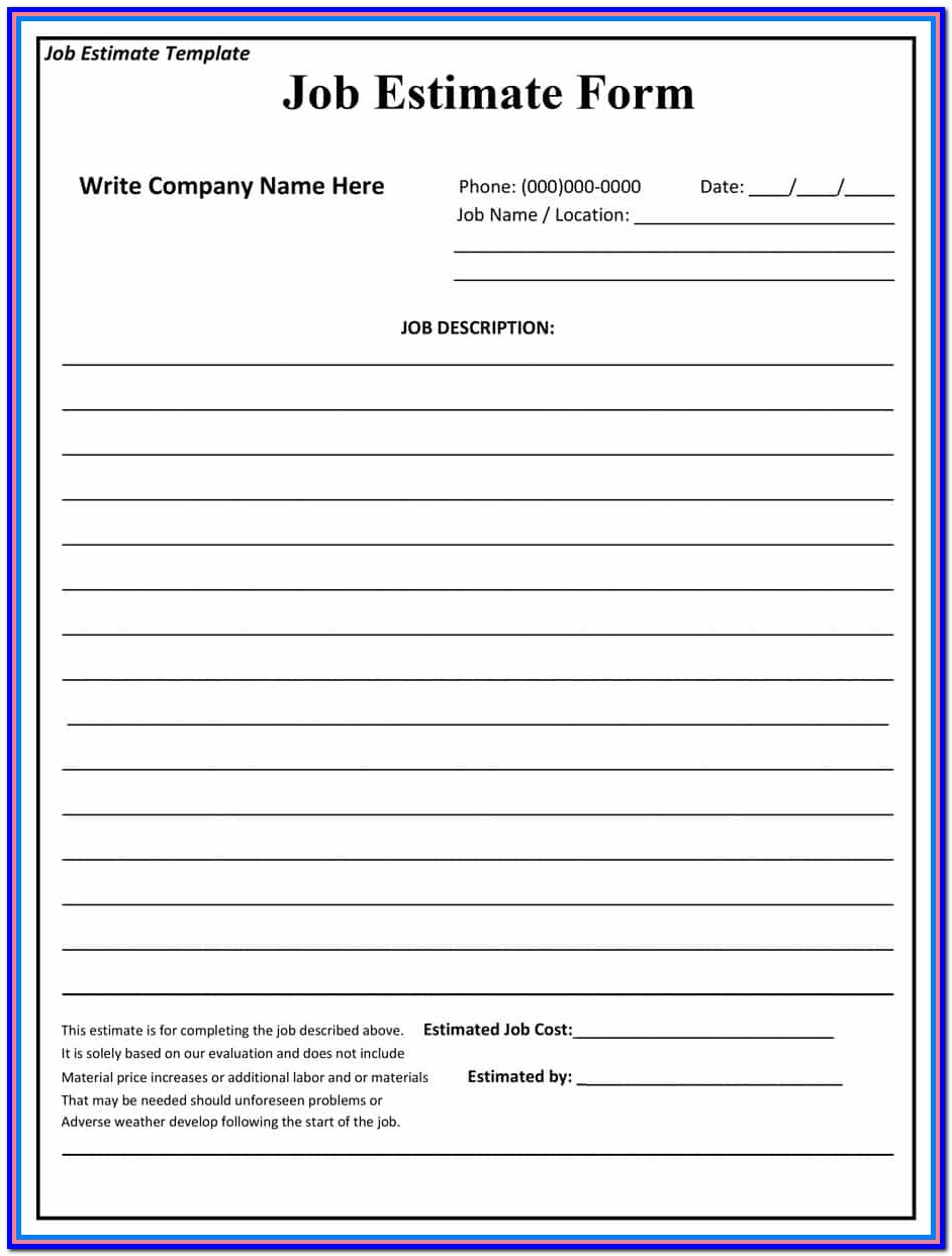 Free Online Contractor Estimate Forms