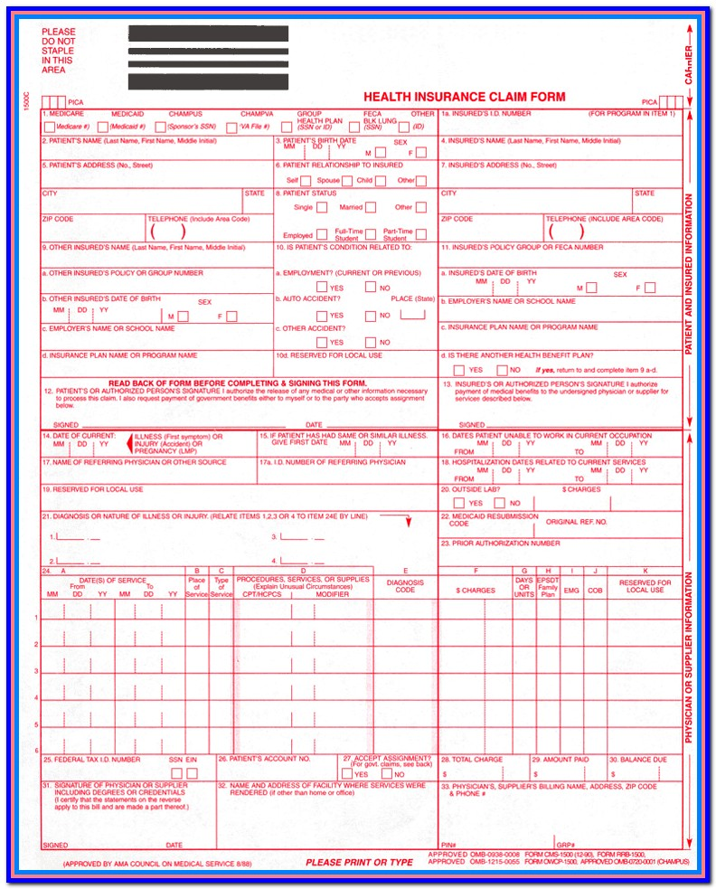 Hcfa 1500 Claim Form Printable