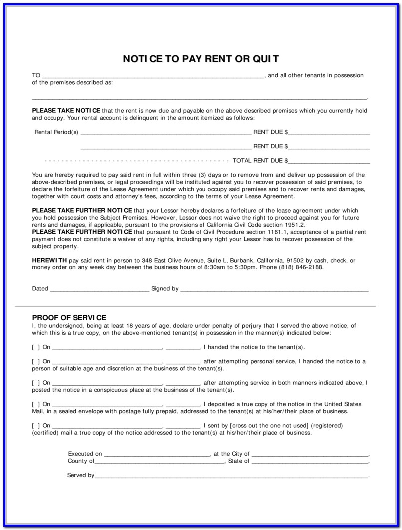 Notice To Pay Rent Or Quit Template