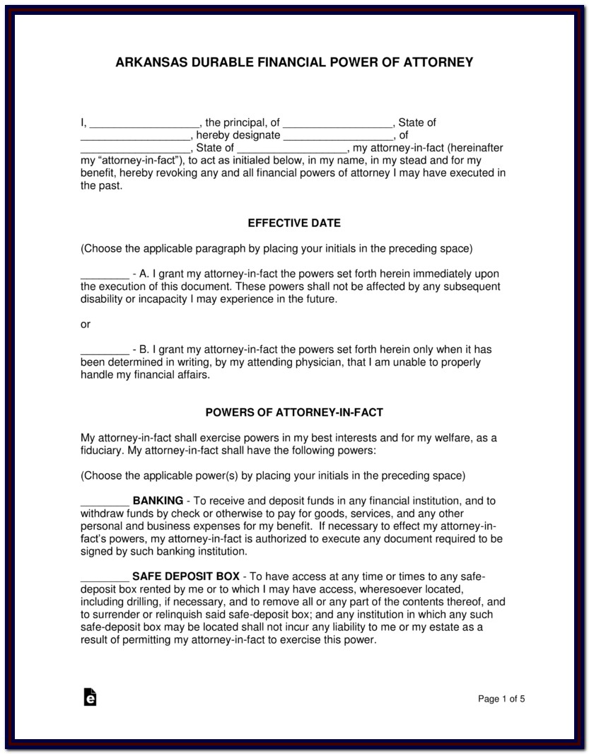 Printable Power Of Attorney Form Arkansas