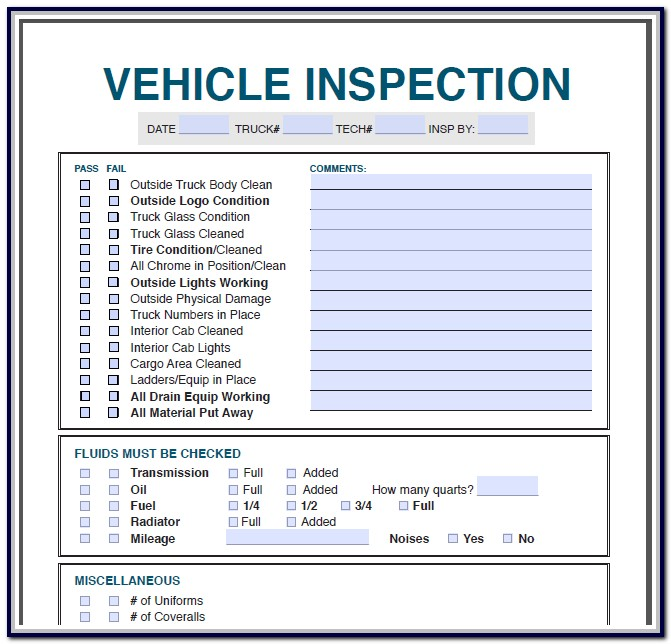 Printable Vehicle Inspection Form Free