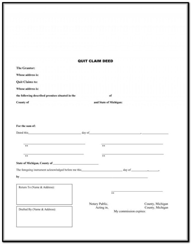 Quit Claim Deed Form Michigan Wayne County