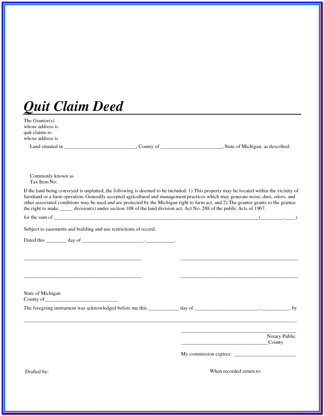 Quit Claim Deed Template Oklahoma