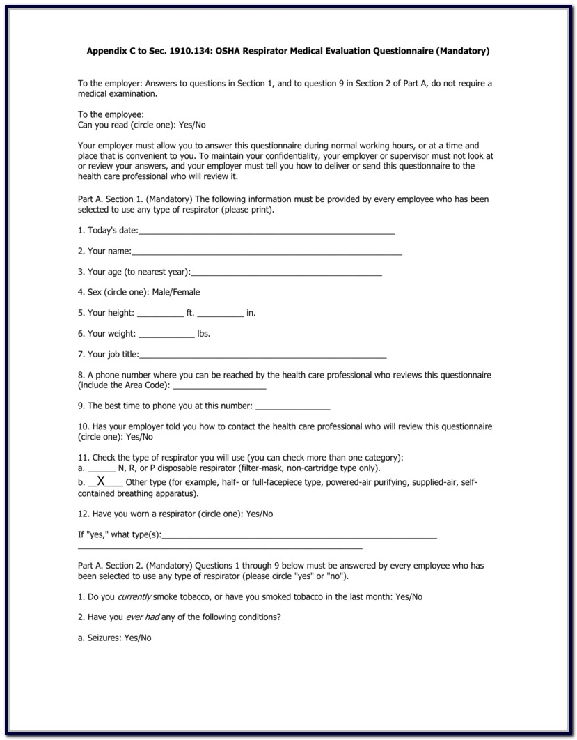 Respirator Medical Evaluation Questionnaire Form D