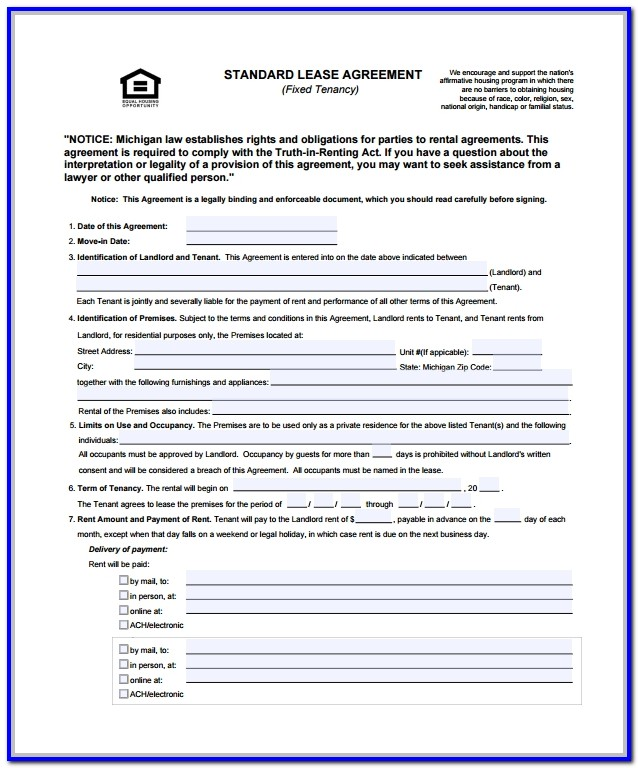Standard Lease Agreement Format