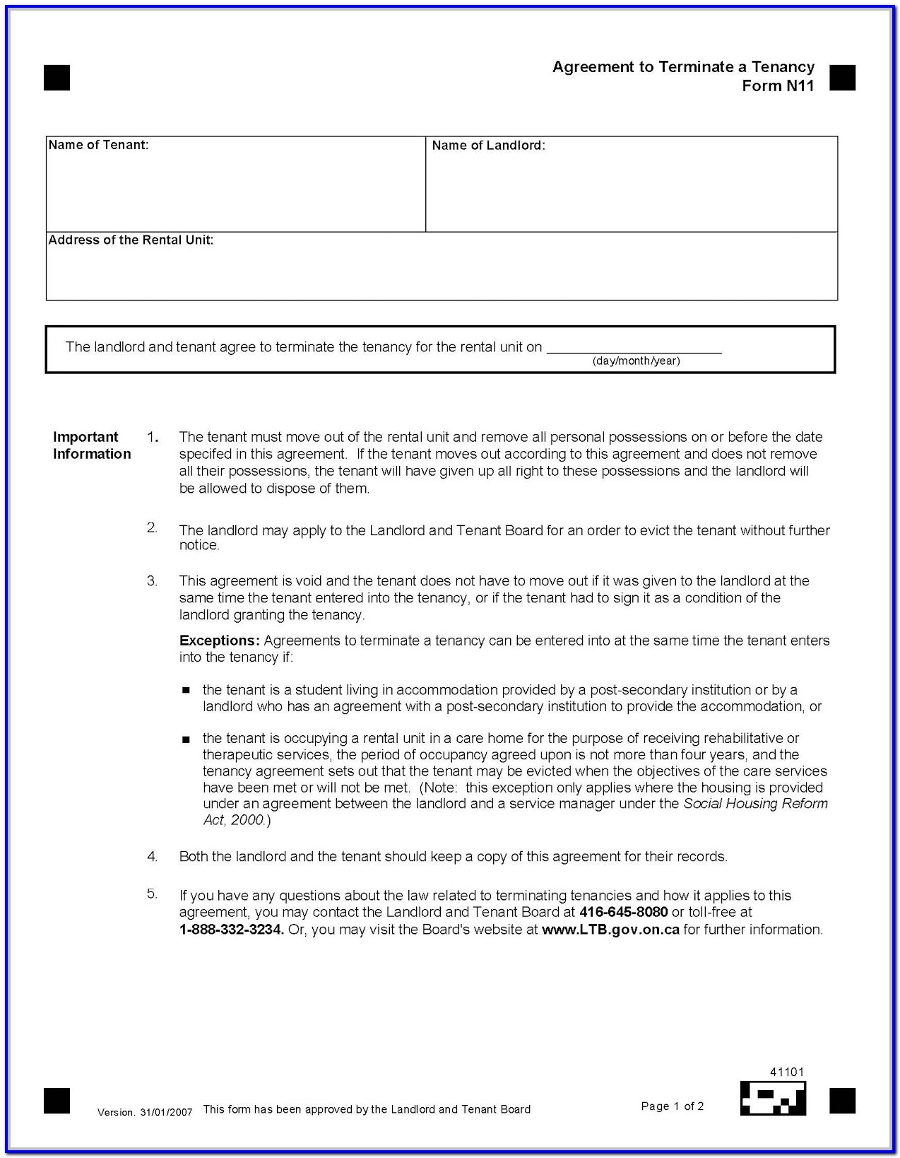 Standard Rental Application Form Ontario