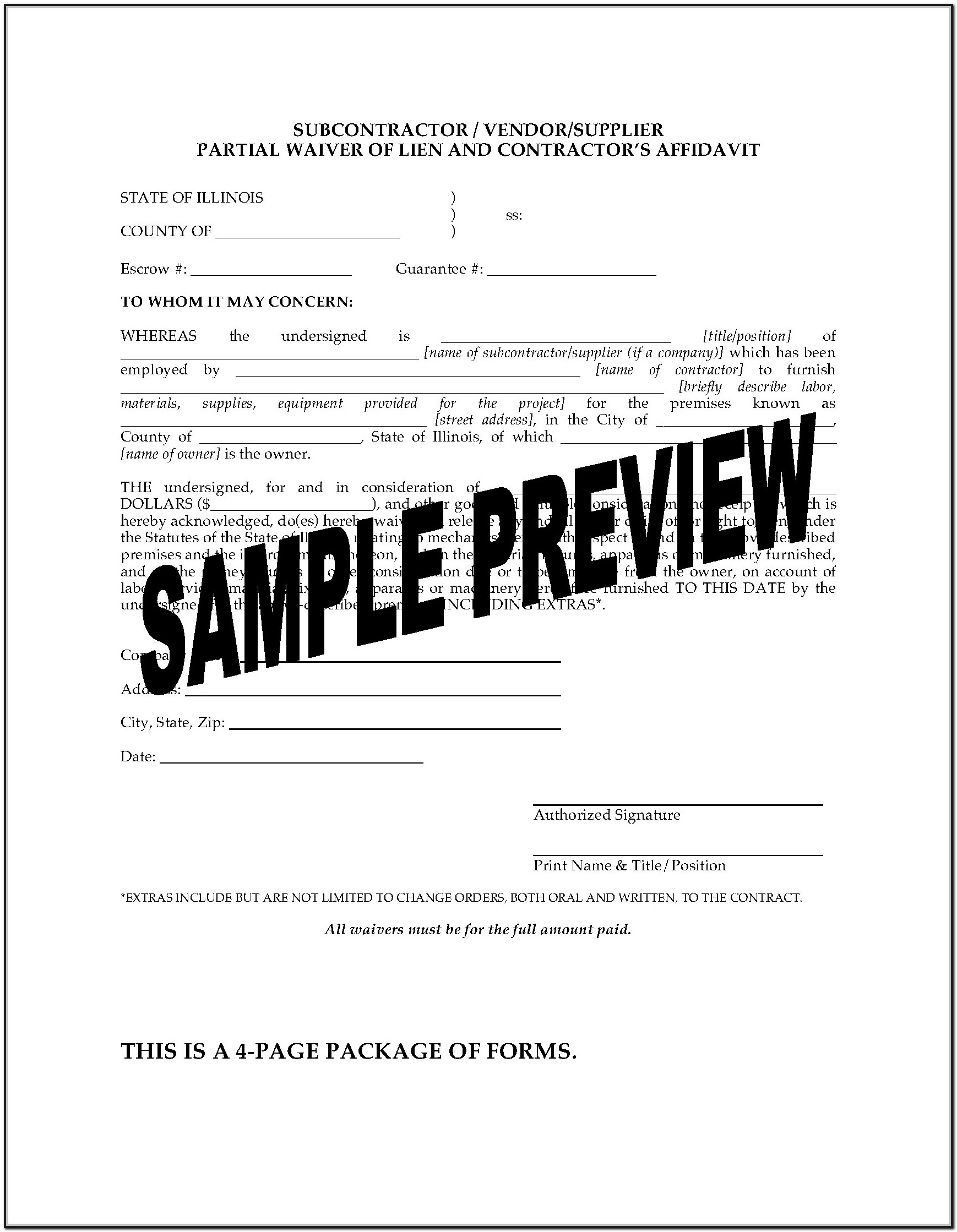 Subcontractor Lien Waiver Form Illinois