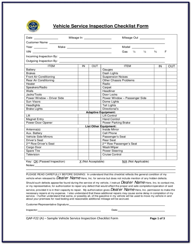 Vehicle Inspection Form Free Download