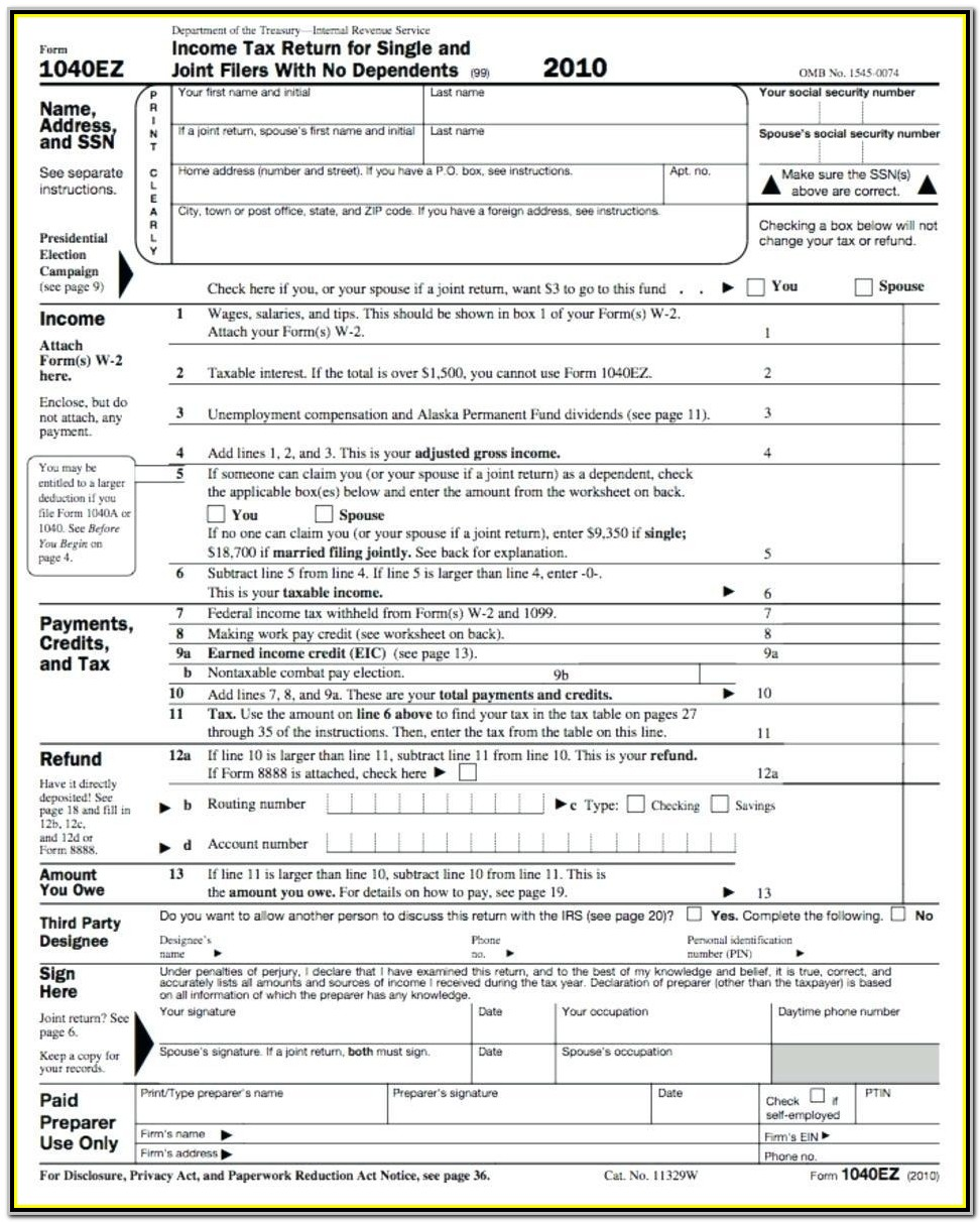 2014 Federal Tax Form 1040ez Instructions