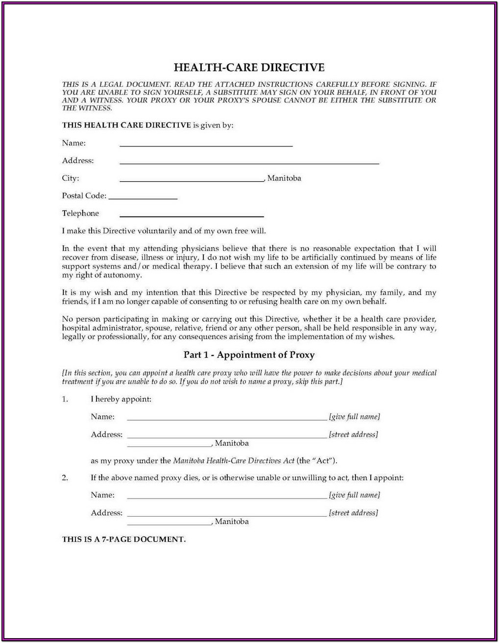 Advance Medical Directive Form Texas