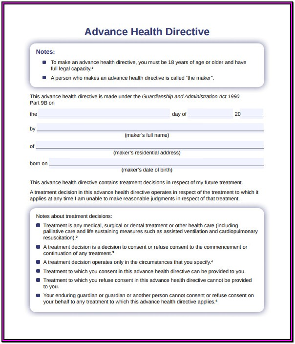 Advance Medical Directive Singapore Form
