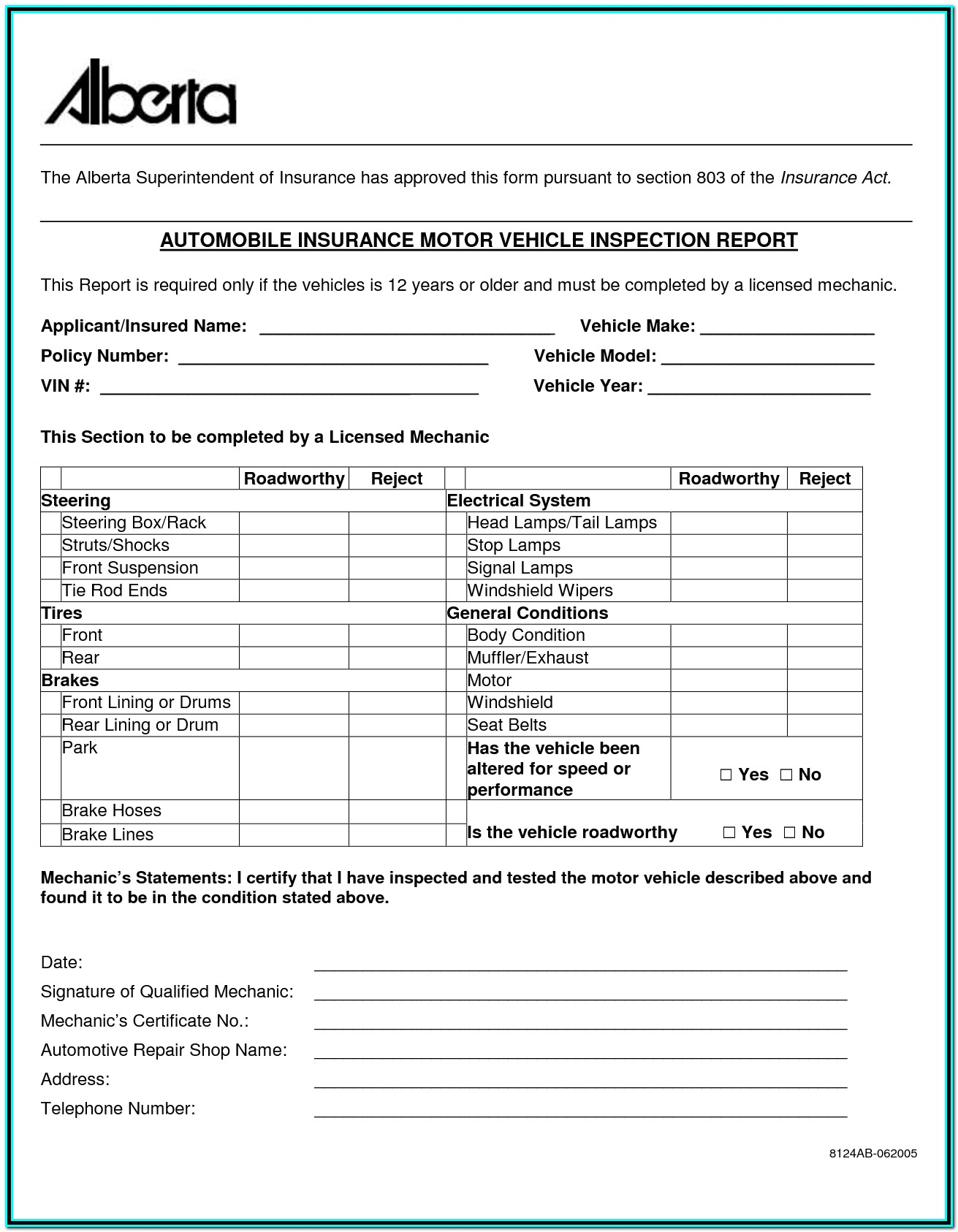 Alberta Pre Trip Inspection Form Checklist