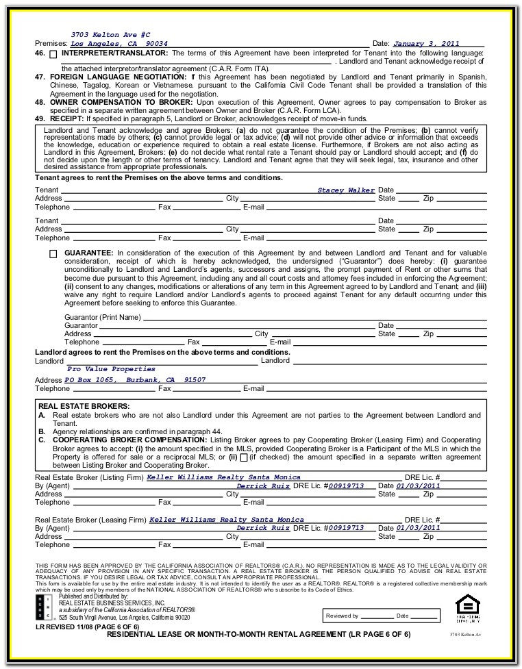 California Association Of Realtors Rental Agreement Form Pdf