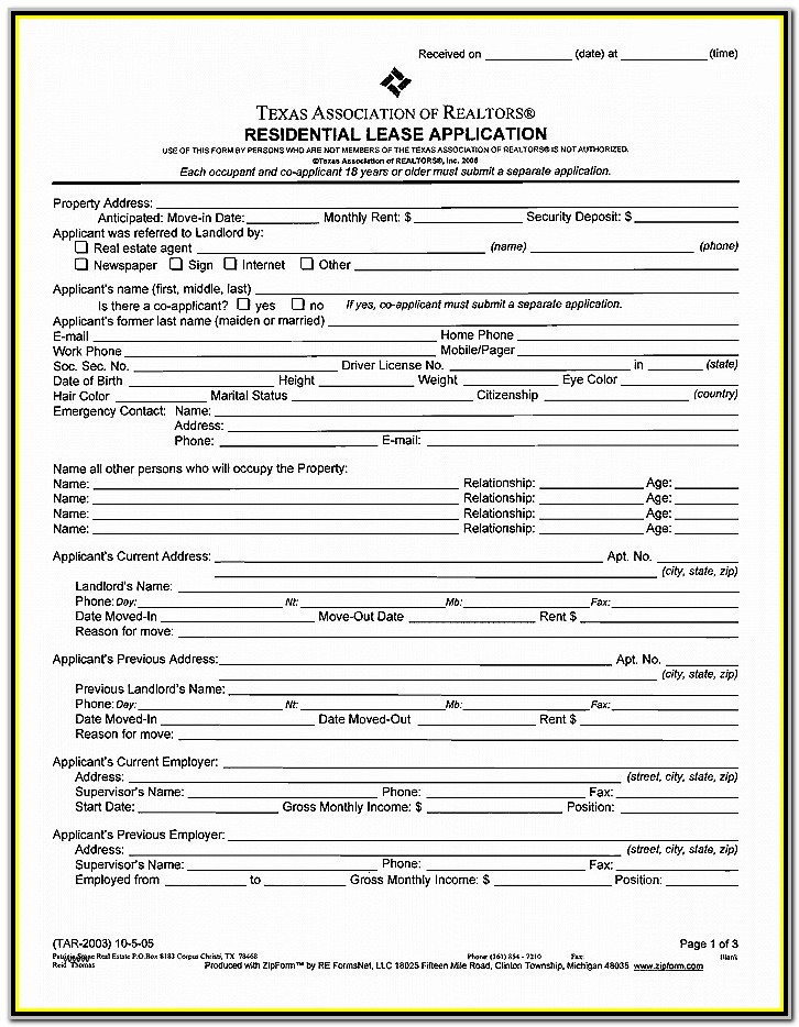 California Association Of Realtors Rental Lease Form