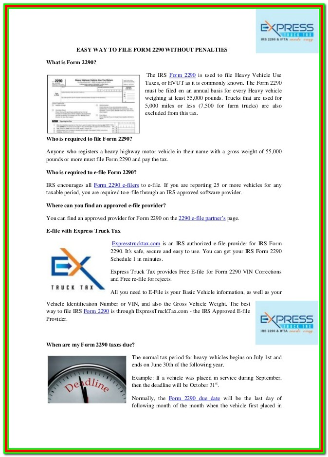 Can You E File Form 2290
