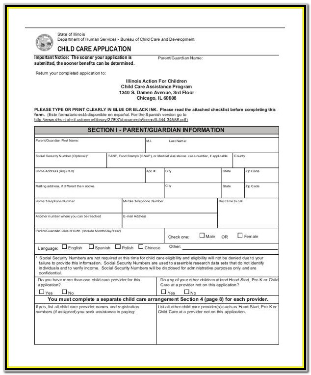 Daycare Application Form Dss