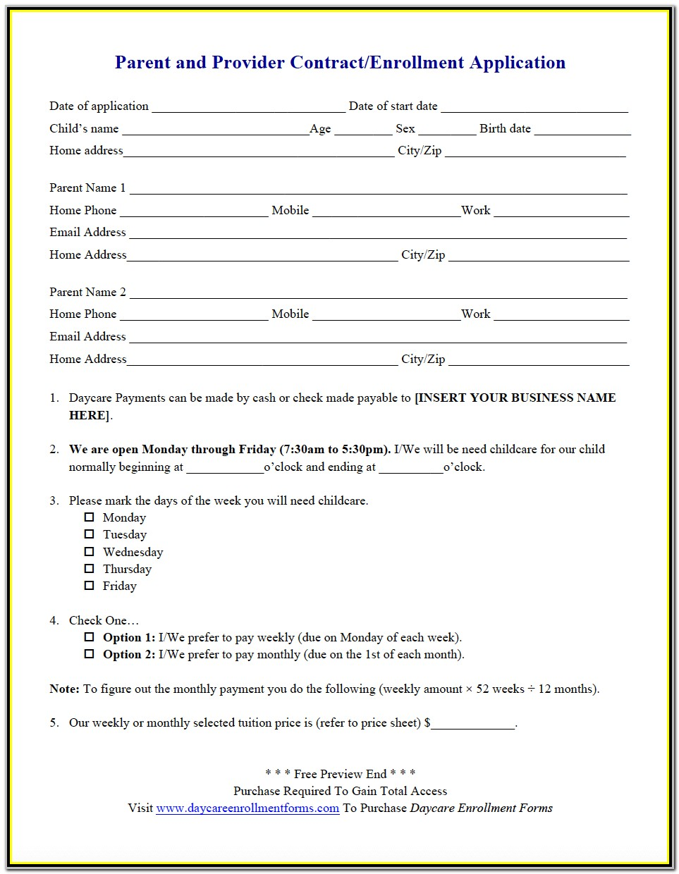 Daycare Application Form For Parents Pdf