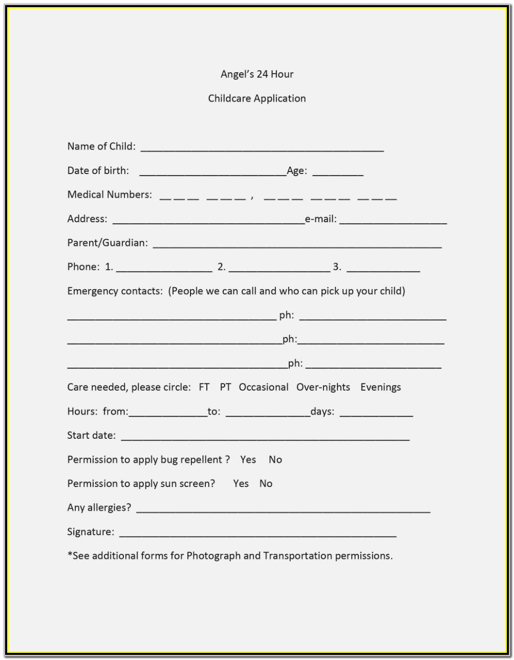 Daycare Application Form For Parents