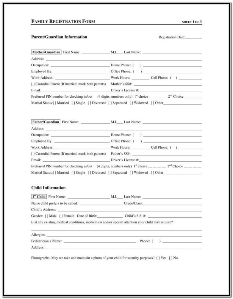Daycare Application Form Pdf
