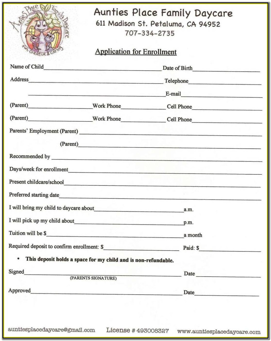 Daycare Application Form Template