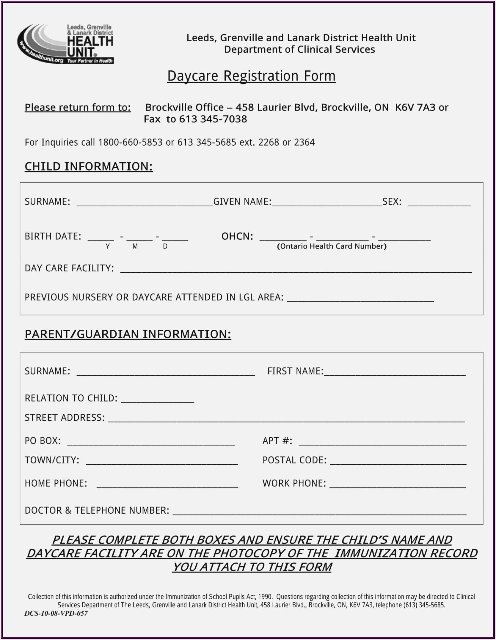 Daycare Forms For Parents To Fill Out