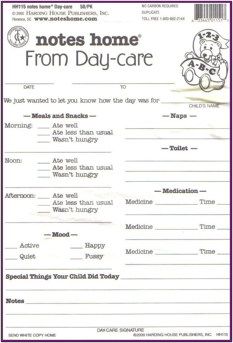 Daycare Information Sheet For Parents