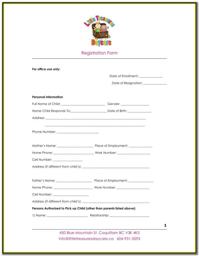 Daycare Registration Form Pdf