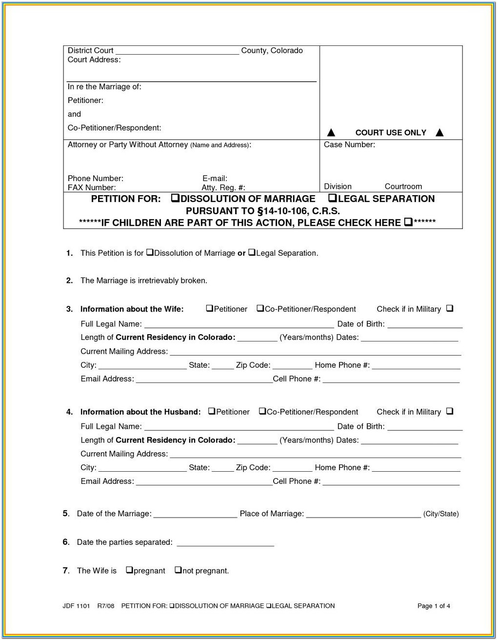 Divorce Filing Colorado