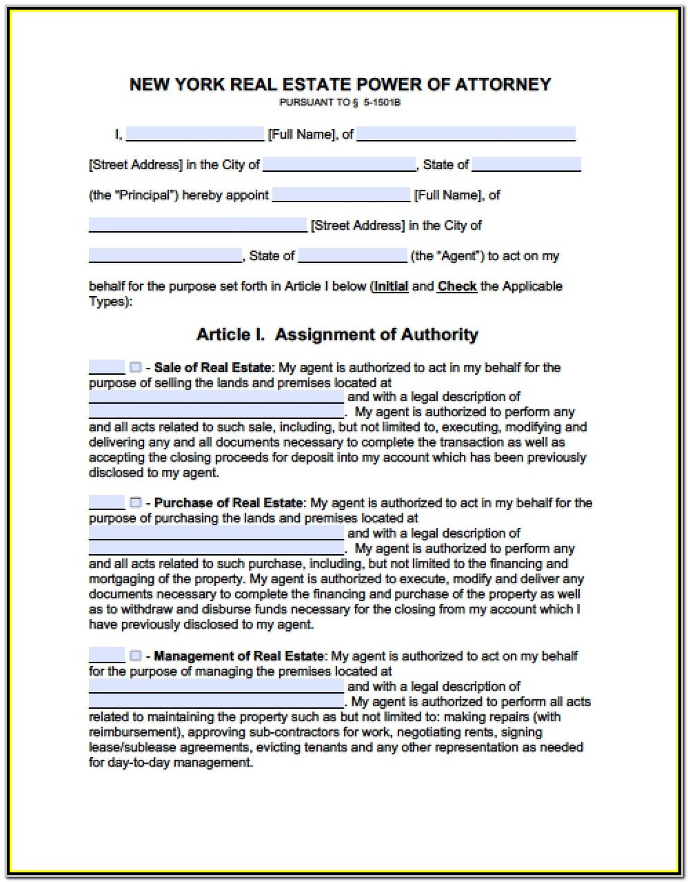 Durable Power Of Attorney Form Nyc