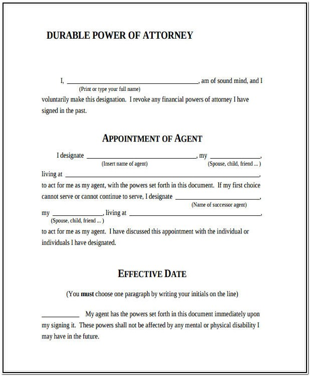 Durable Power Of Attorney Forms Printable