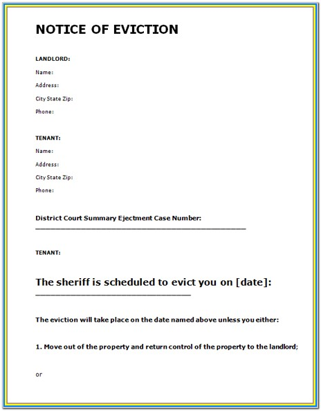 Eviction Letter Form