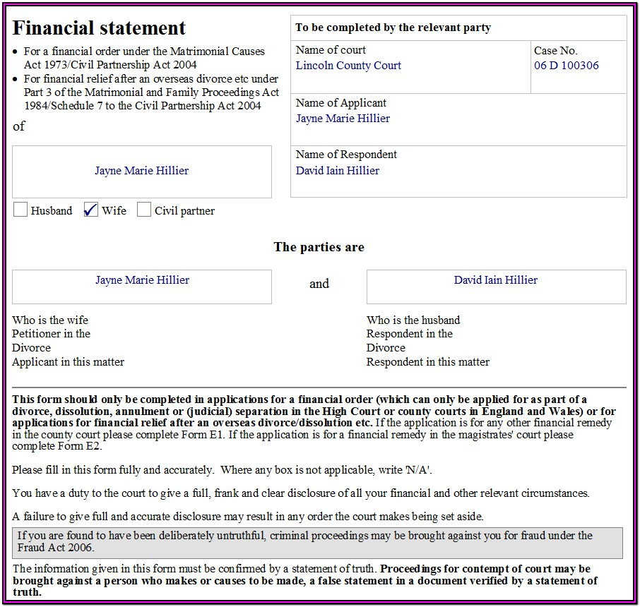 Financial Disclosure Form Divorce Uk