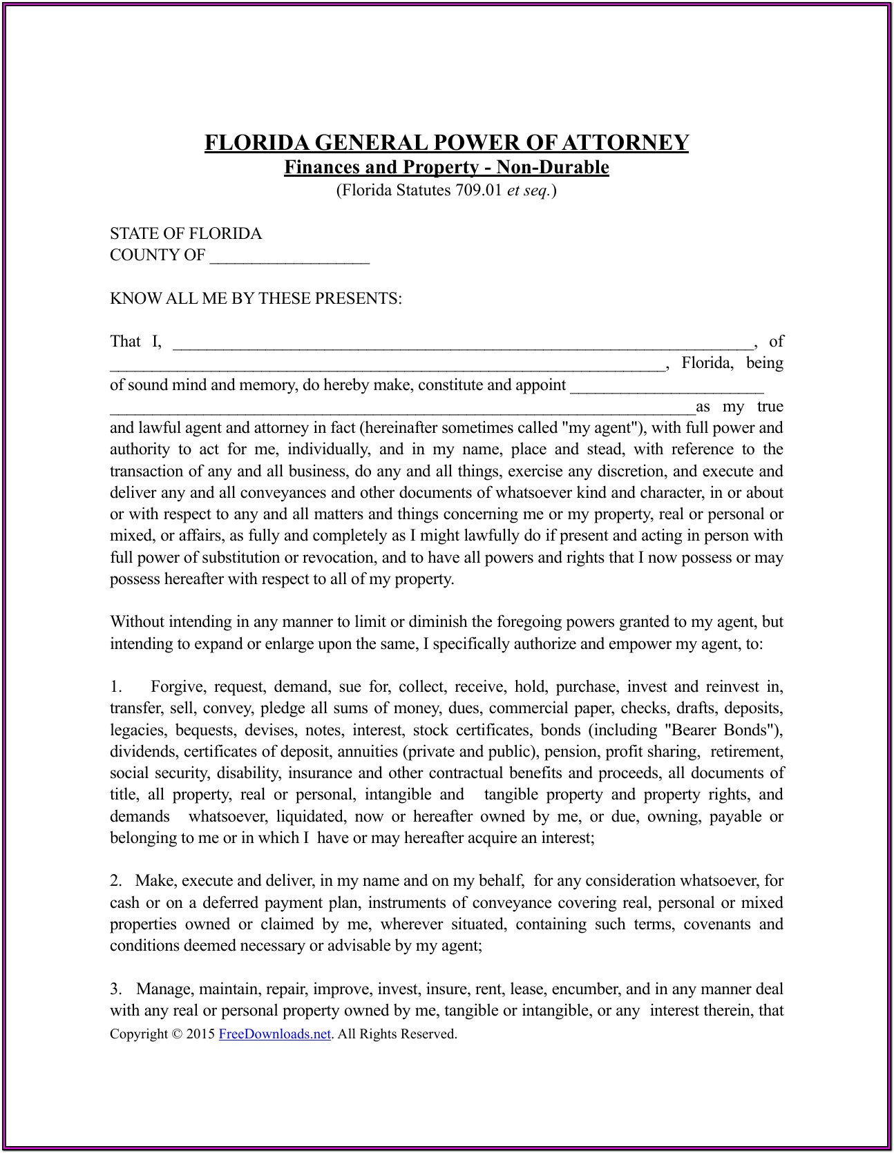 Florida Durable Power Of Attorney Form Free Download