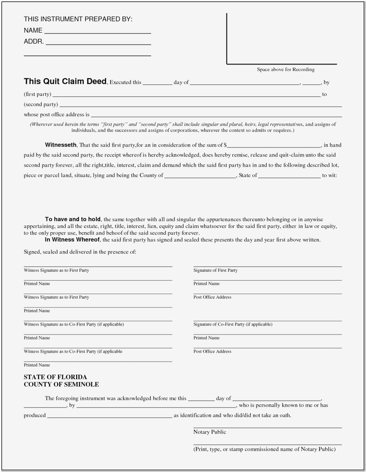 Florida Quitclaim Deed Form For Timeshare Archives – Form Within Quit Claim Deed Form Florida