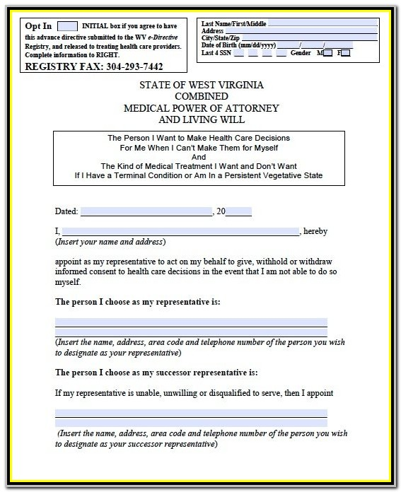 Free Medical Power Of Attorney Form Wv