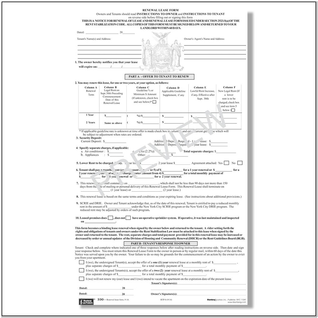 Free Nyc Lease Renewal Form