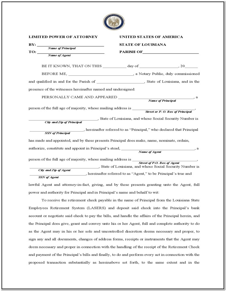 Free Printable Durable Power Of Attorney Form For Louisiana