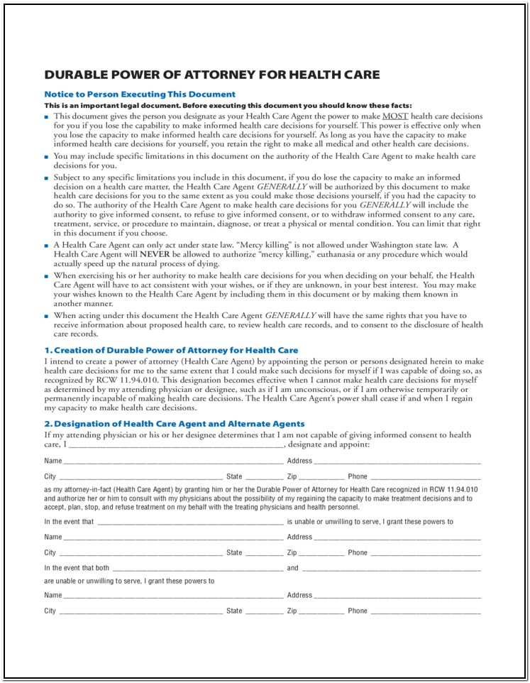 Free Printable Durable Power Of Attorney Form Washington State
