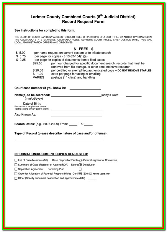 Larimer County Divorce Paperwork