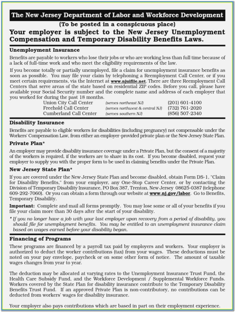 New Jersey State Disability Forms